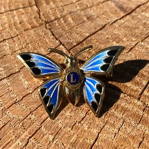 Lions Club Int. Blue Gold Brooch Butterfly Pin